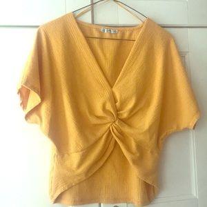 Zara Yellow Front Twist Crop Top